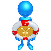 3D Character With Lifebuoy Yen Coin — Stock Photo