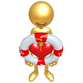 Gold Guy With Lifebuoy Heart — Stock Photo