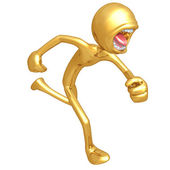Gold Guy Running Screaming — Stock Photo