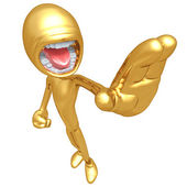 Angry Gold Guy Stop Gesture — Stock Photo