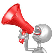 3D Character Screaming Into Megaphone — Stock Photo