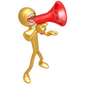 Gold Guy Screaming Into Megaphone — Stock Photo