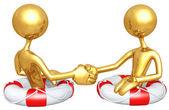 Gold Guys Life Preserver Handshake — Stock Photo