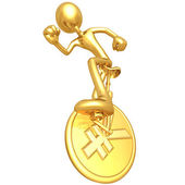 Gold Guy On Yen Coin Unicycle — Stock Photo