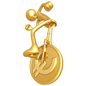 Gold Guy On Euro Coin Unicycle — Stock Photo
