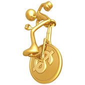Gold Guy On Dollar Coin Unicycle — Stock Photo