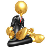 Gold Guy Businessman In Meditation — Stock Photo