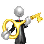 3D Businessman Character Key To Success — Stock Photo