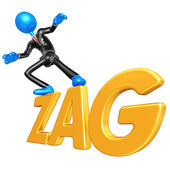 3D Businessman Character Surfing On Zag — Stock Photo