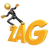 Gold Guy Businessman Character Surfing On Zag — Stock Photo