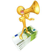 Gold Guy With Money — Stock Photo