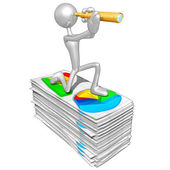 3D Character With Business Reports — Stock Photo