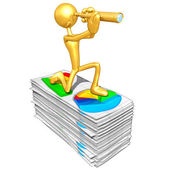 Gold Guy With Business Reports — Stock Photo
