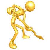 Gold Guy Digging With A Shovel — Stock Photo