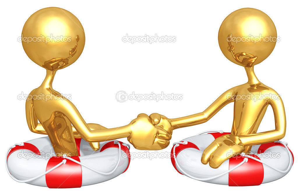 Gold Guys Life Preserver Handshake  Stock Photo #8032368