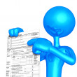 3D Character With Tax Form — Stok Fotoğraf #8061873