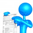 Stock Photo: 3D Character With Tax Form