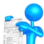 Personnage 3d avec formulaire d'impôt — Photo