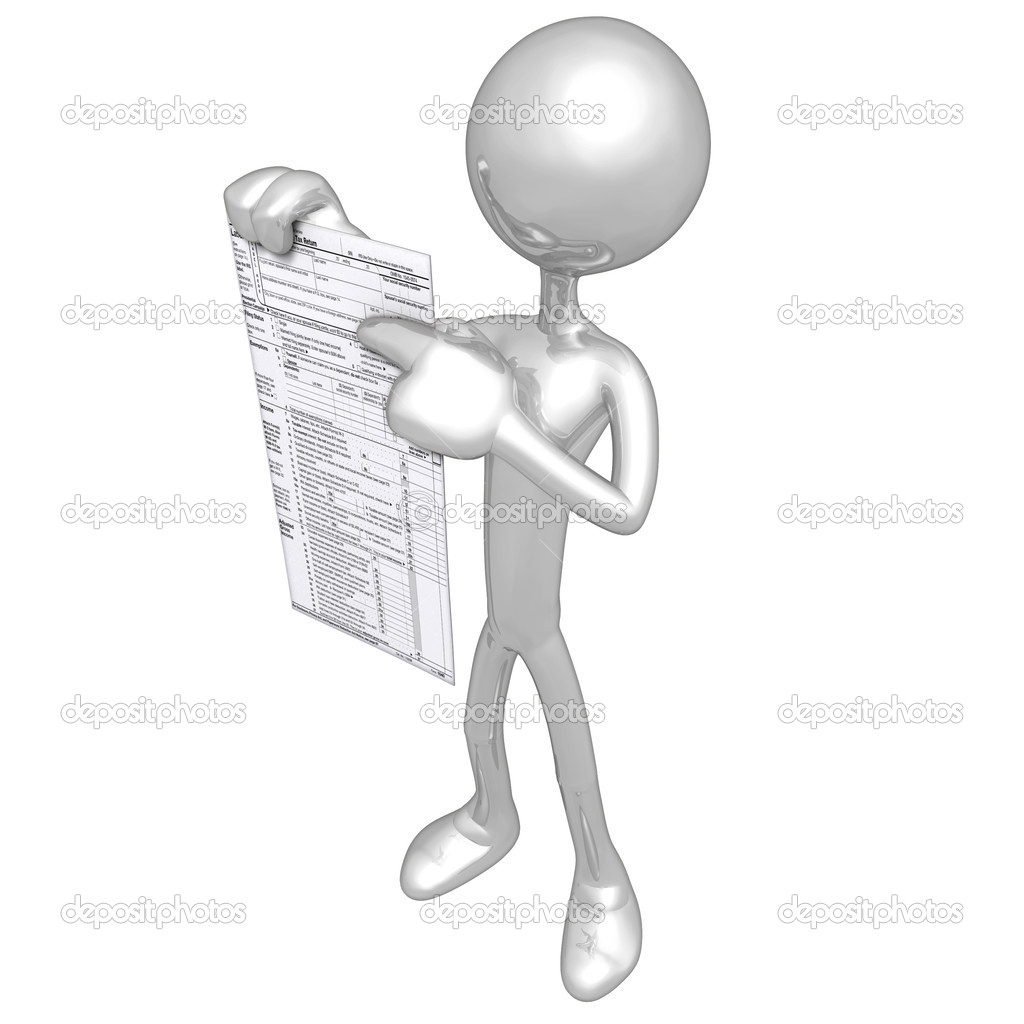 3D Character With Tax Form — Stock Photo #8061892