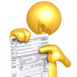 Gold Guy With Tax Form — Stock Photo
