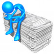 Foto de Stock  : 3D Character With Tax Forms