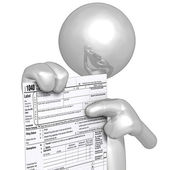 3D Character With Tax Form — ストック写真