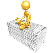 Gold Guy With Tax Forms — Foto de Stock