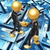 Gold Guys Credit Handshake — Stock Photo