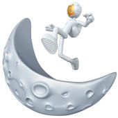 Astronaut Jumping Over The Moon — Stock Photo