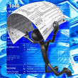 3D Character With Tax Form - Stockfoto