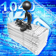 Foto Stock: 3D Character With Tax Forms