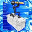 3D Character With Tax Forms — Stock Photo
