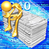 Gold Guy With Tax Forms — Stock Photo