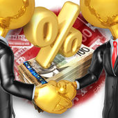 Gold Guys Business Handshake — Stock Photo