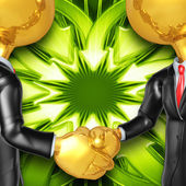 Gold Guys Arrows Handshake — Stock Photo