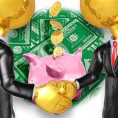 Gold Guys Savings Handshake — Stock Photo
