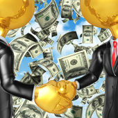 Gold Guys Money Handshake — Stock Photo