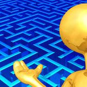 Gold Guy Maze Presenter — Stockfoto