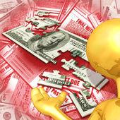 Presentatore del ragazzo d'oro con puzzle di soldi — Foto Stock