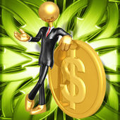 3D Character With Gold Coin — Stock Photo