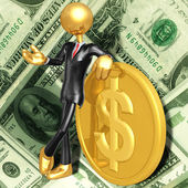 Gold Guy With Gold Coin — Stock Photo