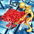 3D Character Digging In A Pile Of Questions — Stock Photo