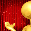 Gold Guy Theater Presenter - Stock Photo