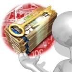 Golden Wealth Key Presenter — Stock Photo #8394318