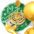 Stock Photo: Gold Guy Money Target Presenter