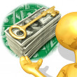 Royalty-Free Stock Photo: Gold Guy Wealth Key Presenter