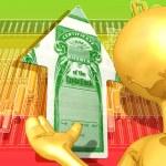 Gold Guy Stock Market Arrow Presenter — Stock Photo