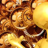 Apresentador de engrenagem tipo ouro — Foto Stock