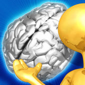 Gold Guy Brain Presenter — Stock Photo