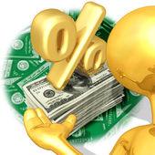 Gold Guy Percentage Presenter — Stock Photo